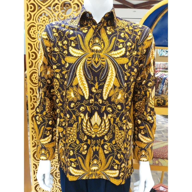 Batik Semar Pria Hem Panjang Katun Soga Emas 52 Sogan Cokelat Size SML