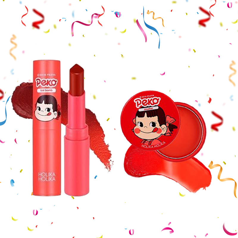 Holika Holika Peko Water Drop Tint Bomb 03 Fig Water + Peko Melty Jelly Blusher 01 Melting Cherry