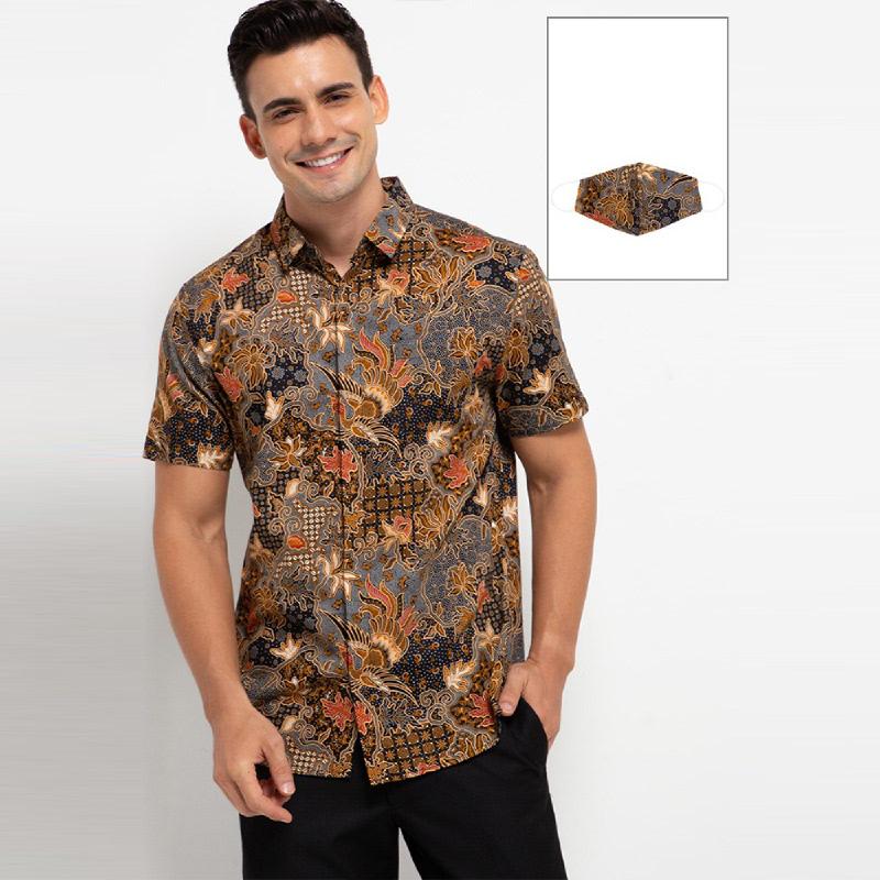Arthesian Kemeja Batik Pria Carel Batik Printing Brown