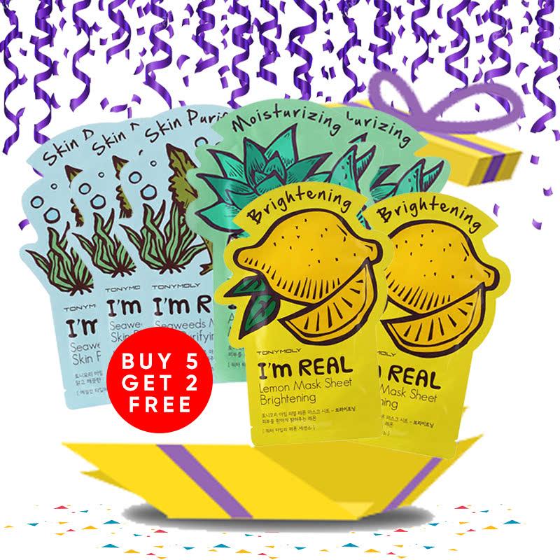 Tony Moly Bundle 2pcs Aloe Mask Sheet Moisturizing + 2pcs Brokolli Mask Sheet Vitality + 2pcs Avocado Mask Sheet Nutrition