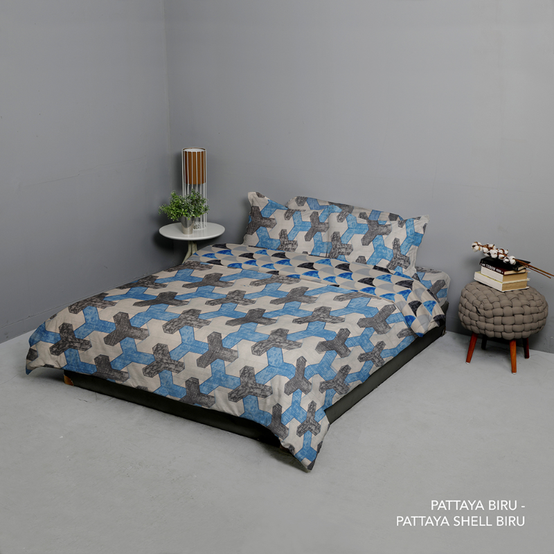 King Rabbit Set Seprei Extra King Size 200x200x40 cm Motif Pattaya - Biru