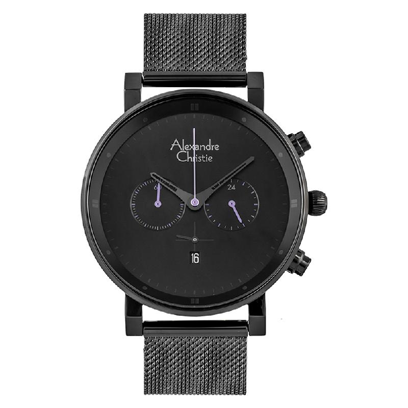 Alexandre Christie AC 6547 MC BIPBA Chronograph Black Dial Black Mesh Strap