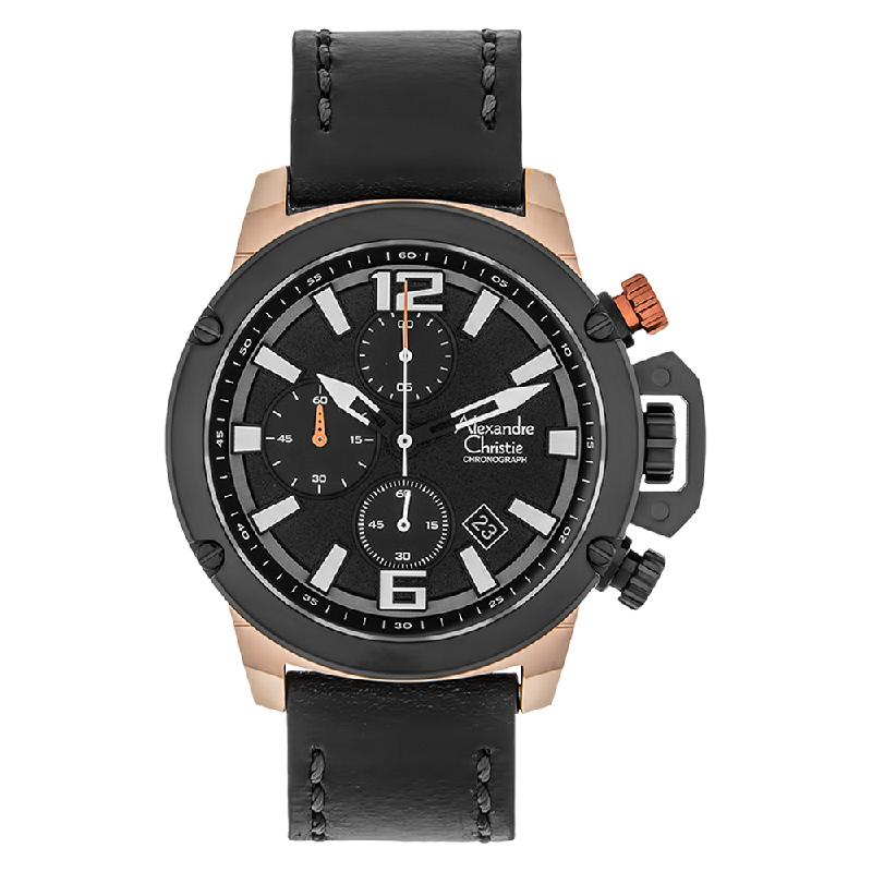 Alexandre Christie AC 6487 MC LBRBA Chronograph Men Black Dial Black Leather Strap