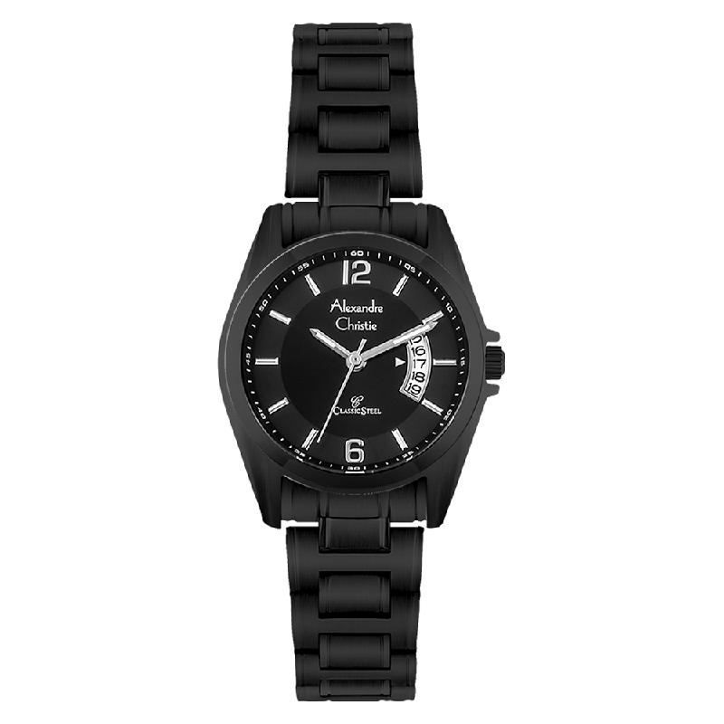 Alexandre Christie AC 8289 LD BIPBA Ladies Black Dial Black Stainless Steel