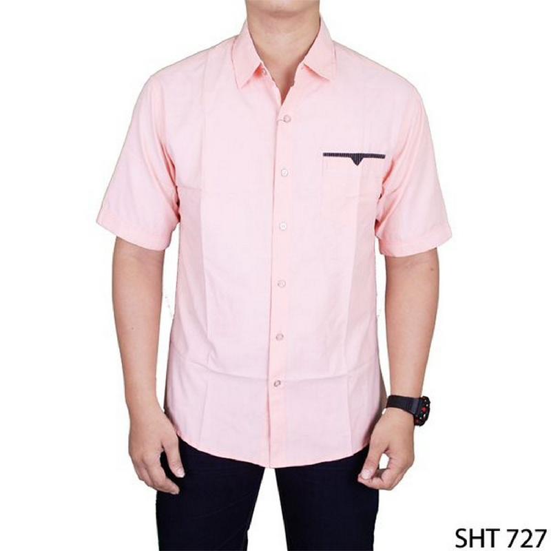 Gudang Fashion Short Sleeve Slim Fit Casual Man Shirts Pink SHT 727