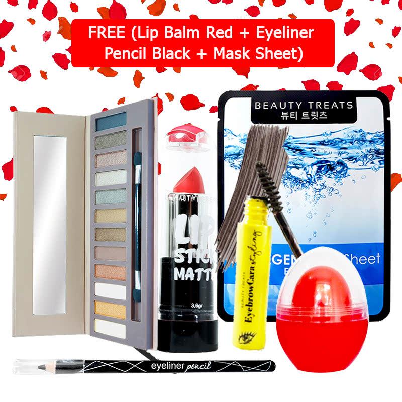 Beauty Treats Make Up Set B (Naked Eyeshadow No. 1 + Lipstick No. 8 + Eyebrowcara Dark Grey Brown) FREE Kiss Me Lip Balm Red + Eyeliner Pencil Black + Mask Sheet Collagen