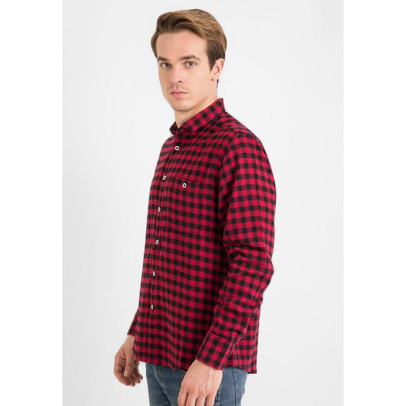 17Seven Men Shirt Flanel Franco Red