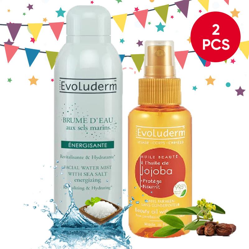 Evoluderm Facial Water Mist With Sea Salt 150Ml + Evoluderm 100ml Jojoba Beauty Oil