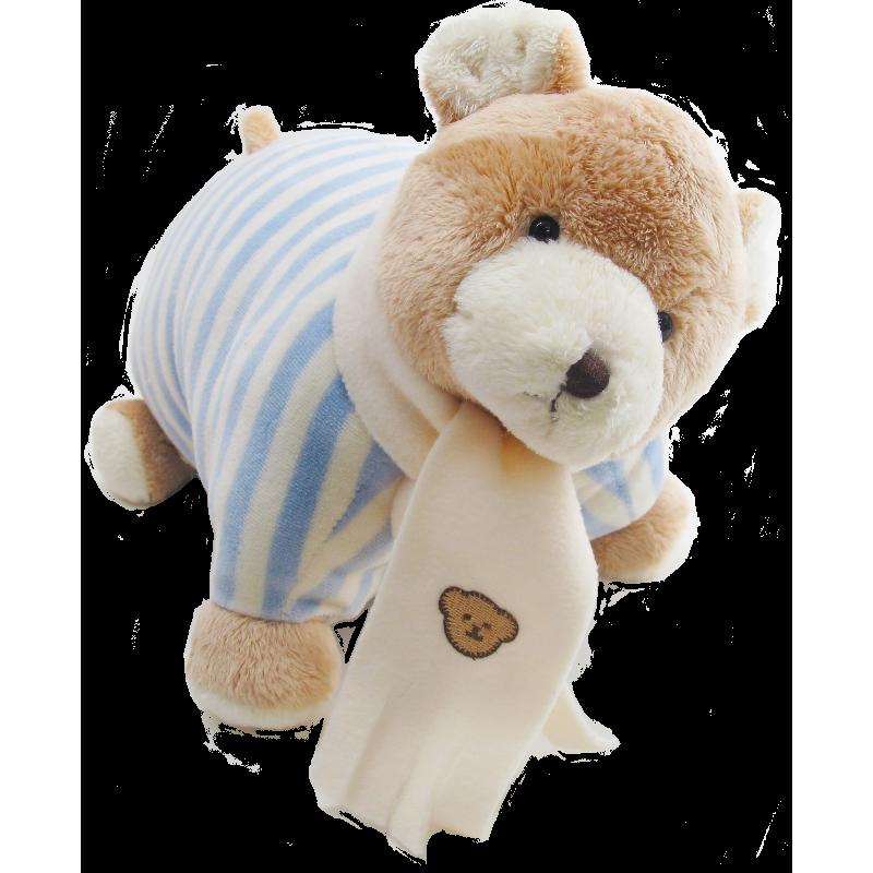 Bear Cushion Stripe Blue