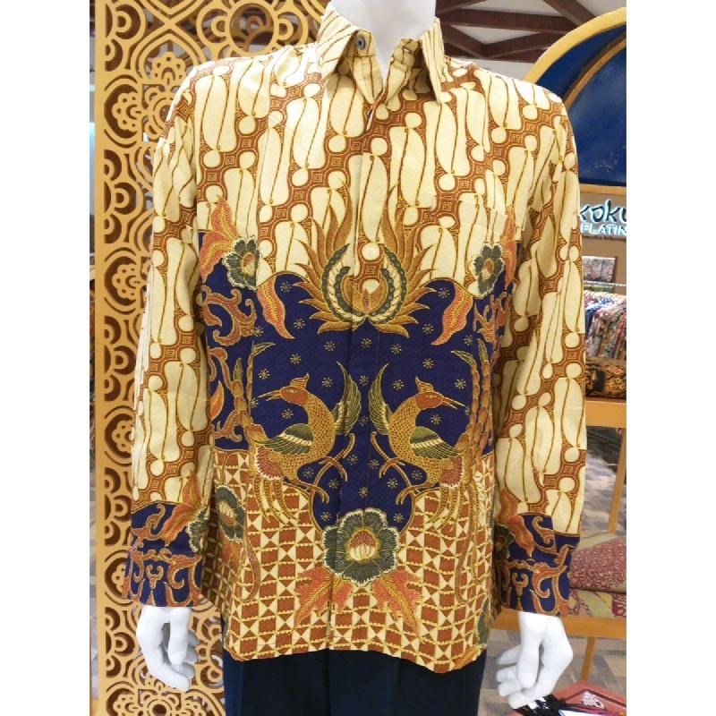Batik Semar Pria Hem Panjang Full Tricot Buket Setelon 40 Biru Size XL