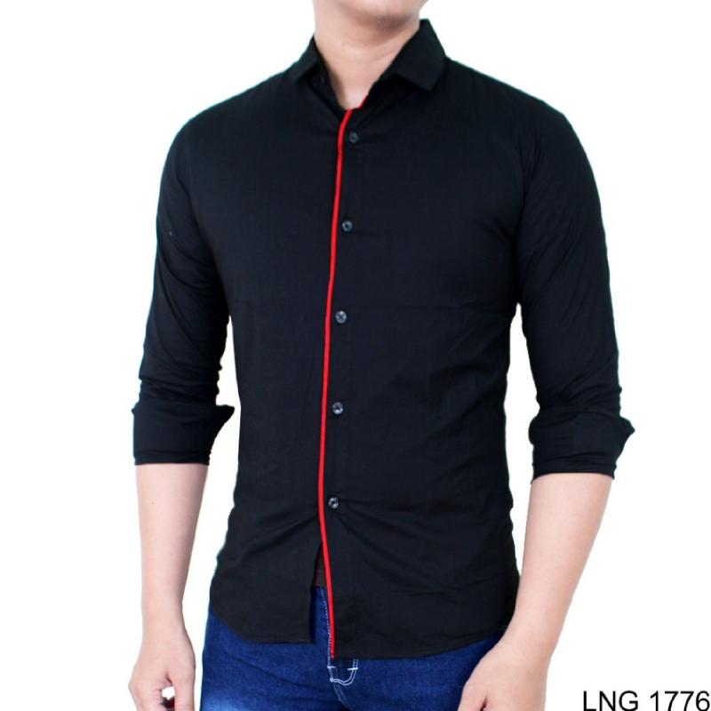 Gudang Fashion Baju Pria Style Lengan Panjang Hitam LNG 1776