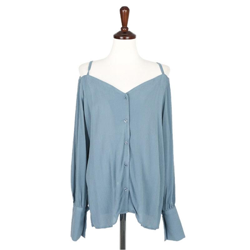 Autumn Off-shoulder Blouse - BLUE