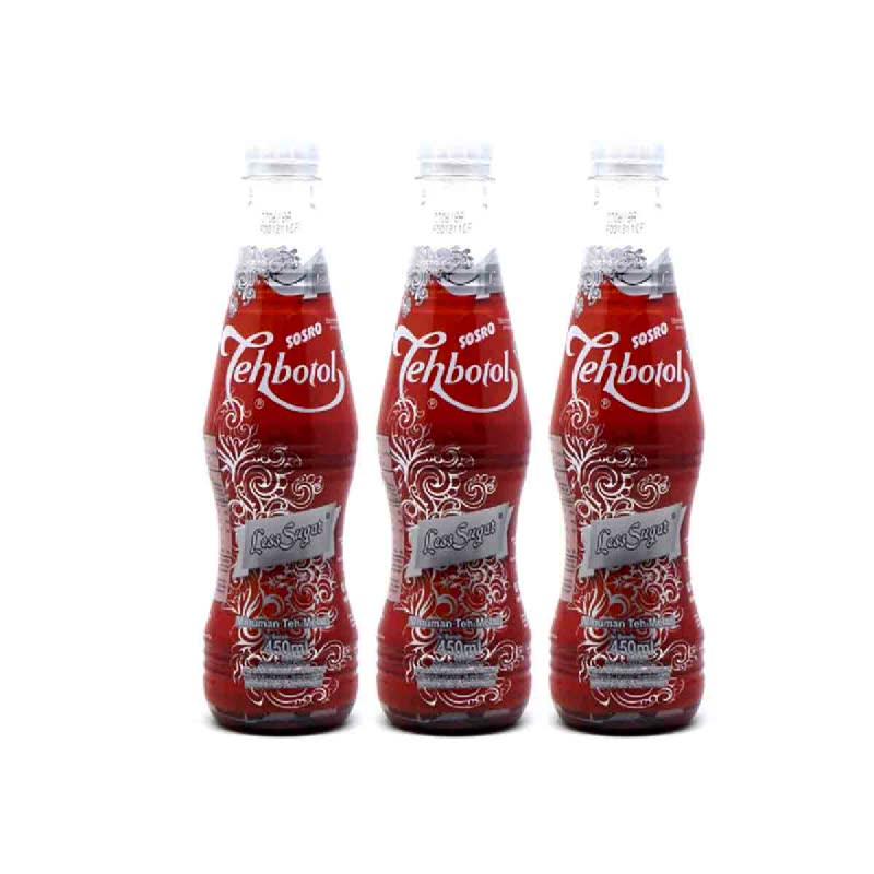 Teh Botol Sosro Less Sugar Low Calorie 450 Ml (Buy 2 Get 1)
