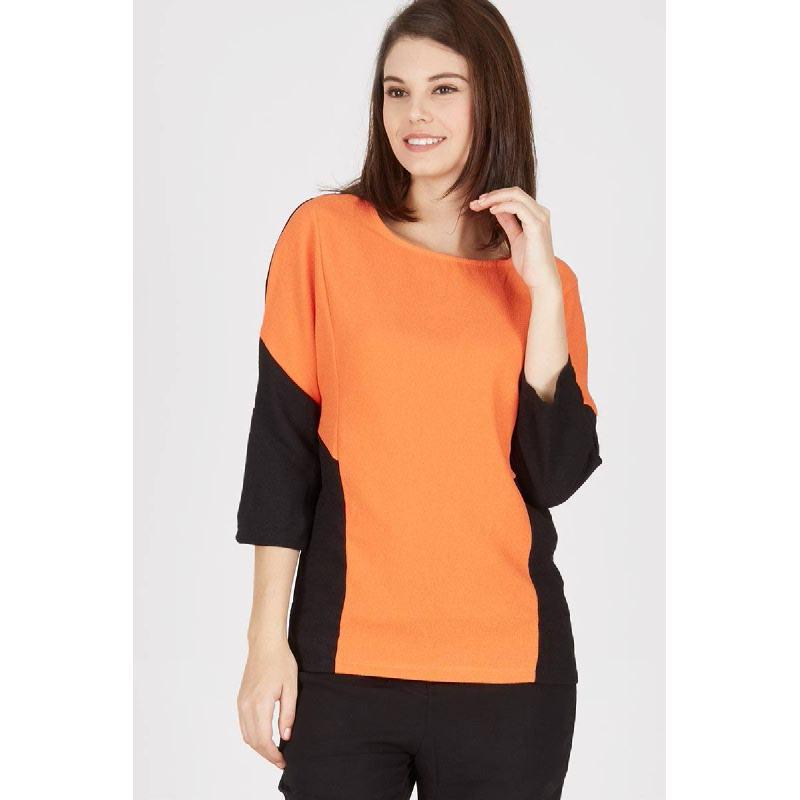 Gwen Fridin Top in Orange Black