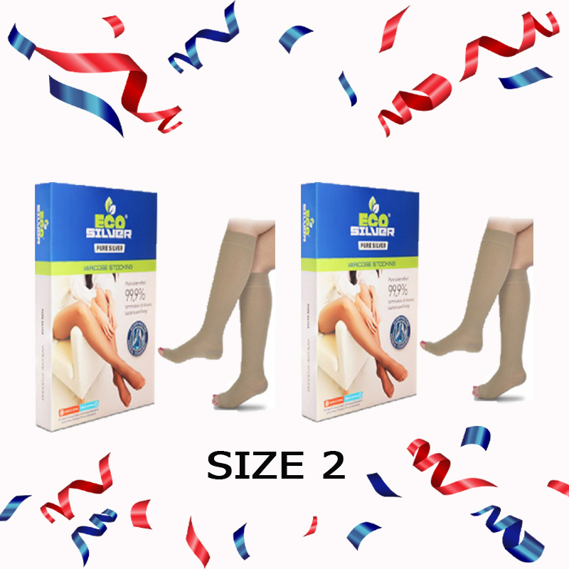 Varicose Stocking Knee - Open Toe (Size 2) + Varicose Stocking Knee - Open Toe (Size 2)