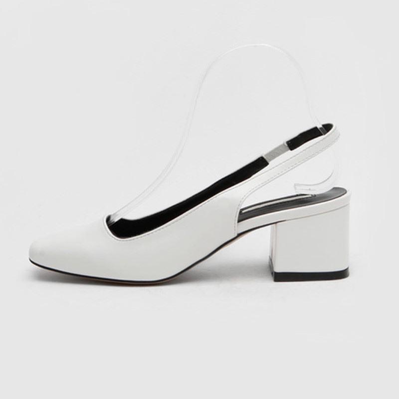 Mowen Slingback Mid Heel (6cm) White