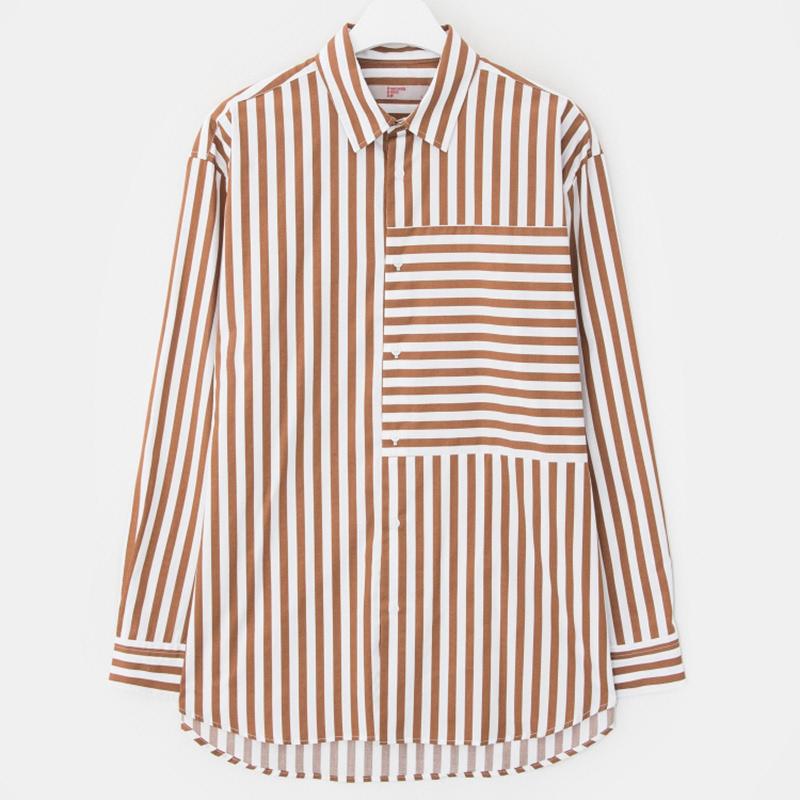 8 seconds Men Brown Loose Fit Stripe Shirt - Brown