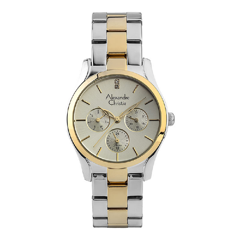 Alexandre Christie Passion AC 2910 BF BTGLG Ladies Gold Dial Dual Tone Stainless Steel Strap