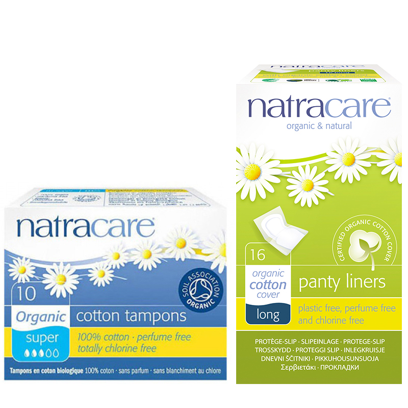 Natracare Digital Tampons Super 10 + Natracare Long Wrapped Panty Liners 16