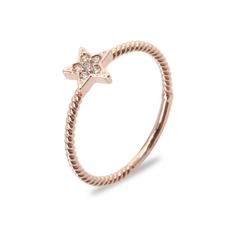 Cocoa Jewelry Cincin Stars Line Rose Gold Color