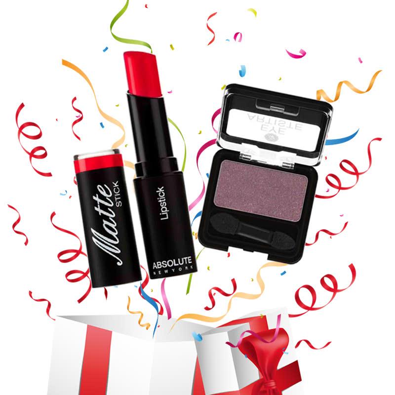 Absolute New York Matte Stick Lipstick Cadmium Red + Eye Artiste Sugar Plum