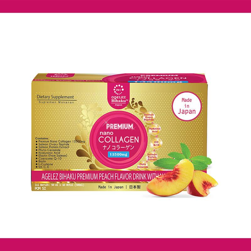 Agelez Bihaku Premium Nano Collagen 1 Box (10 Botol)