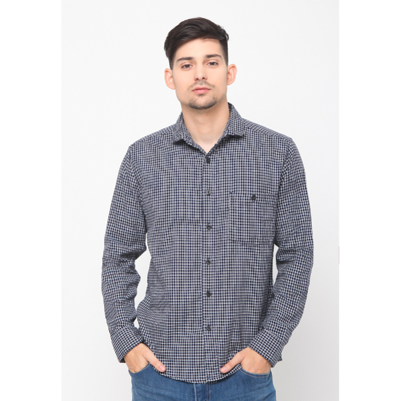 17seven Men Shirt Flanel Porel Navy