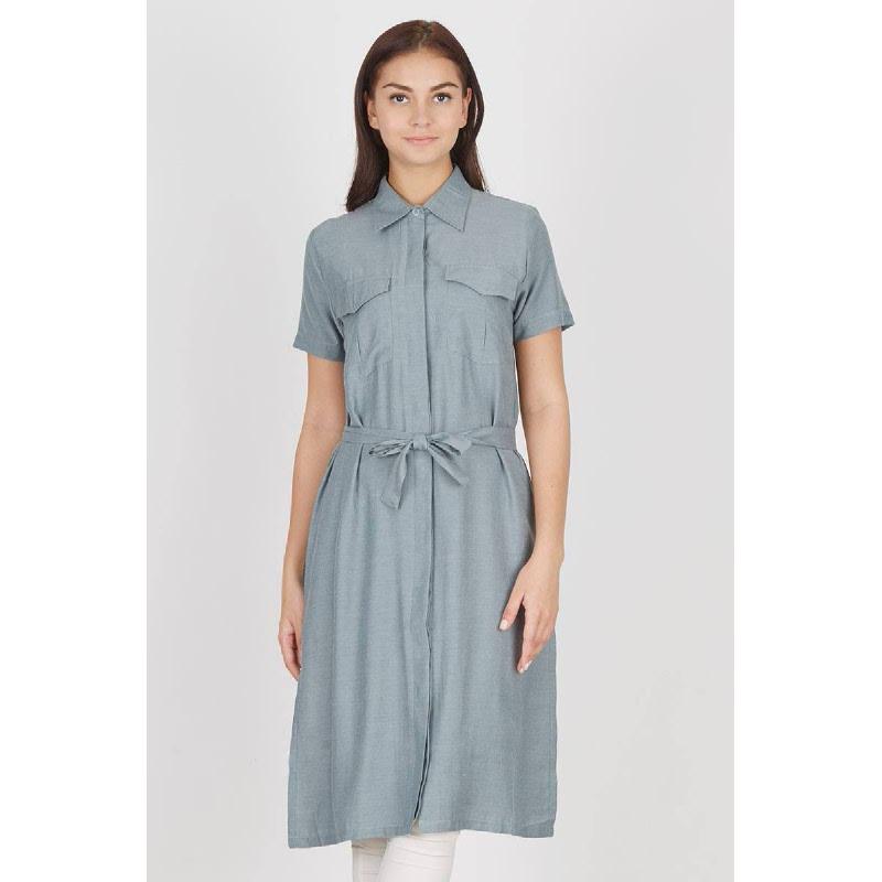 Imer Long Grey Shirt Dress