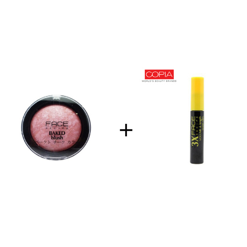 Face Recipe Baked Blush Rose + Face Recipe 3X Volume & Length Mascara Black