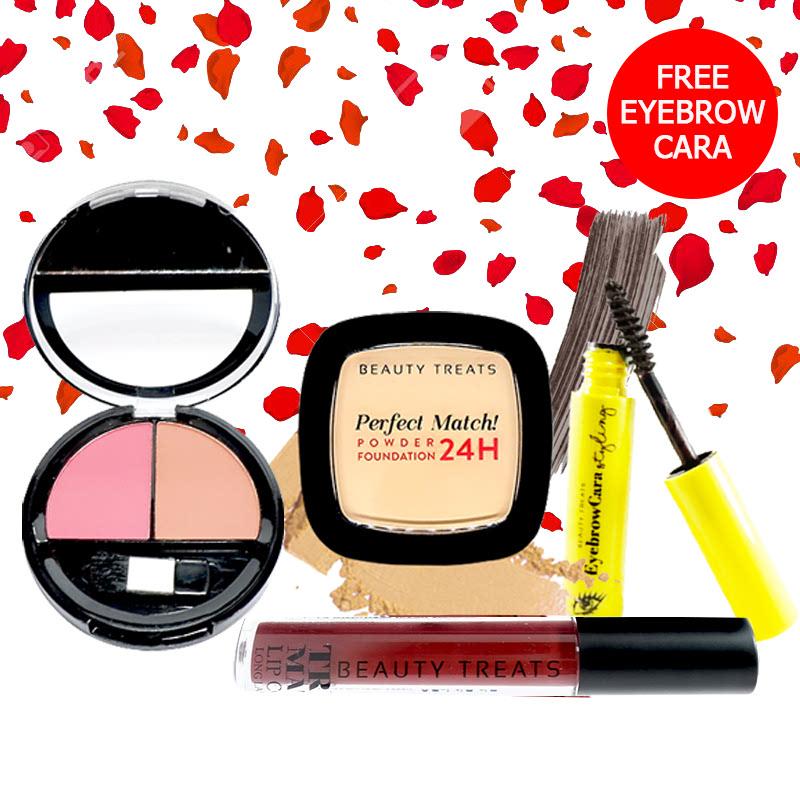 Beauty Treats Make Up Set A (Perfect Match Powder Foundation 24H No. 1 + True Matte Lip Color No. 12 + Duo Blush No. 2) FREE Eyebrowcara Dark Grey Brown