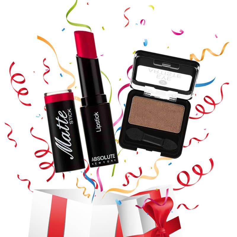 Absolute New York Matte Stick Lipstick Burgundy + Eye Artiste Latte Break