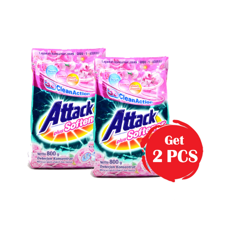 Attack Detergent Plus Softener 800 Gr (Get 2)
