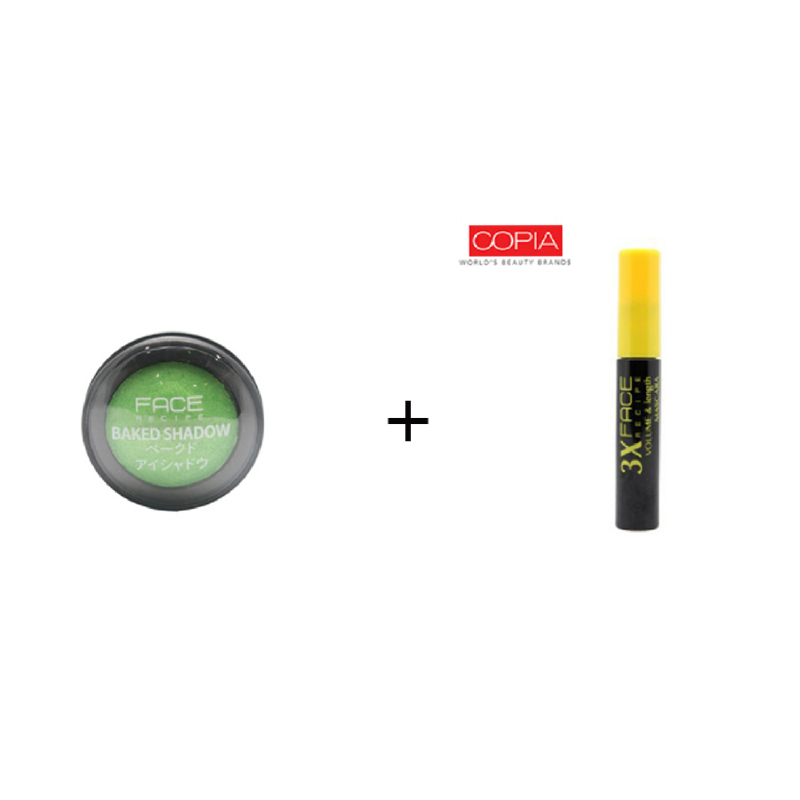 Face Recipe Baked Shadow Clover + Face Recipe 3X Volume & Length Mascara Black