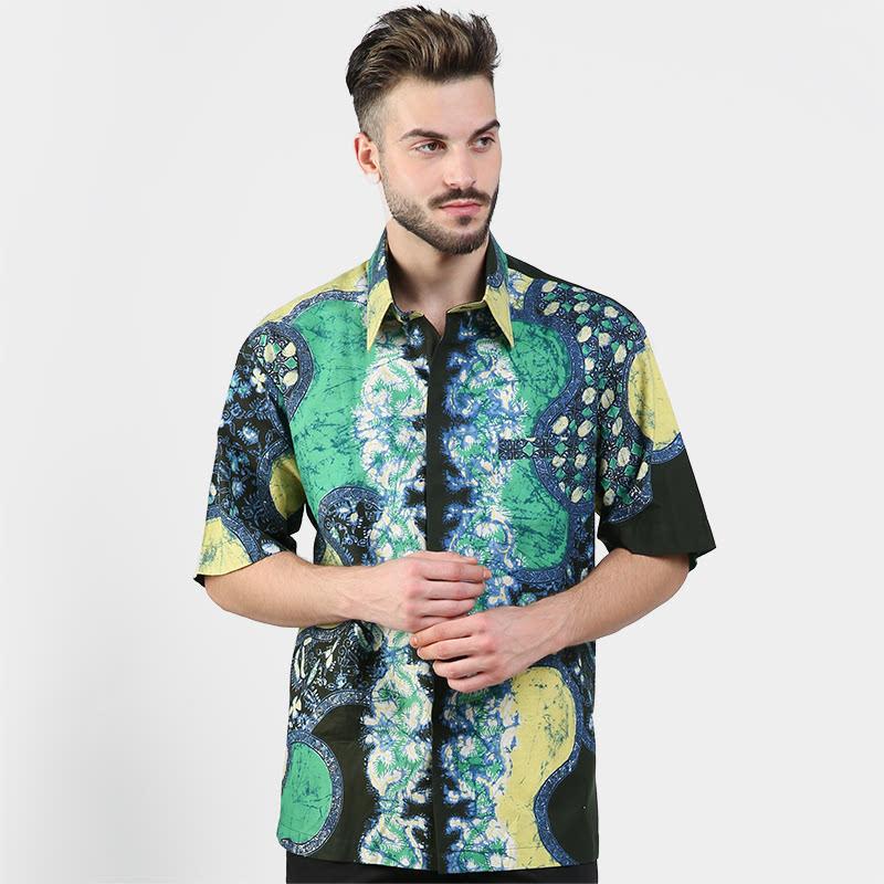 Batik Muda Hem Cirebon Shirt Green