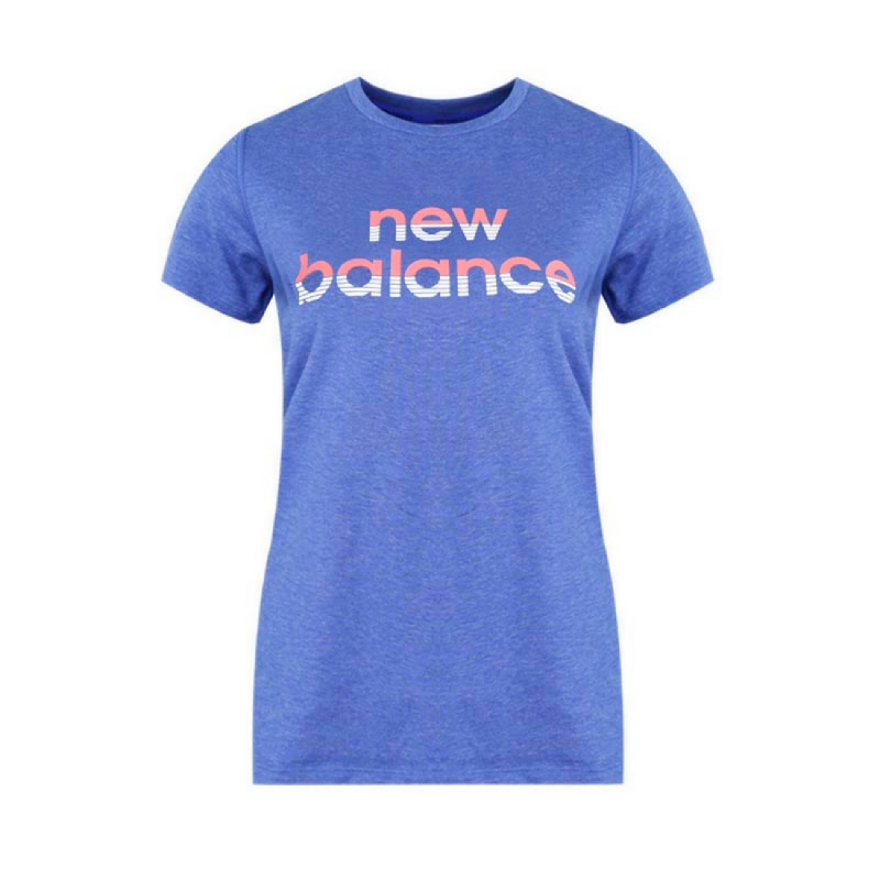New Balance Graphic Heather Tech Women Training Tee - Blue
