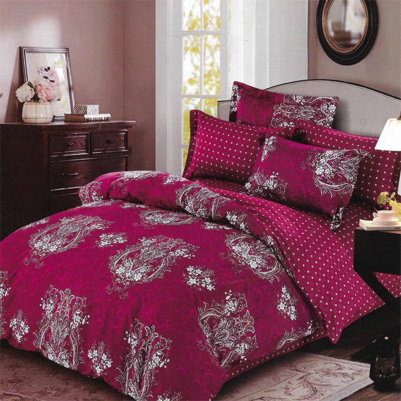 Sleep Buddy Set Sprei Red Carve Cotton Sateen 160x200x30