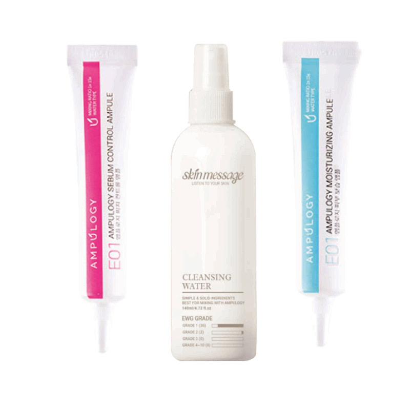 Ampulogy Sebum Control Ampule 10ml + Ampulogy Skin Message Cleansing Water 140ml + Ampulogy Moisturizing Ampule 10ml