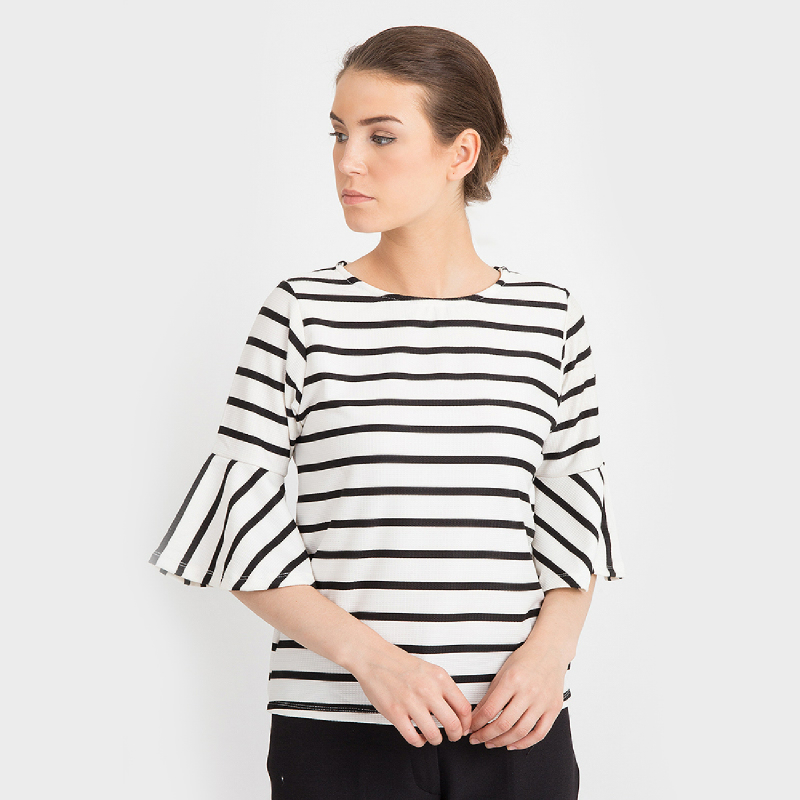 duapola Stripped Wedges Bell Blouse