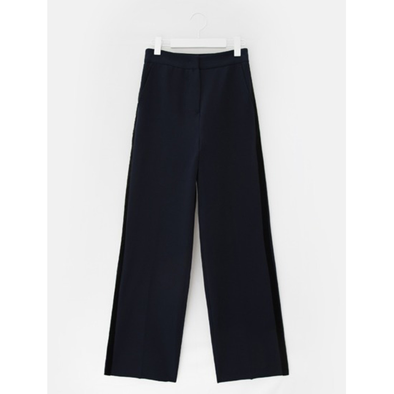 8 seconds Women Navy Suede Taping Wide Pants - Navy