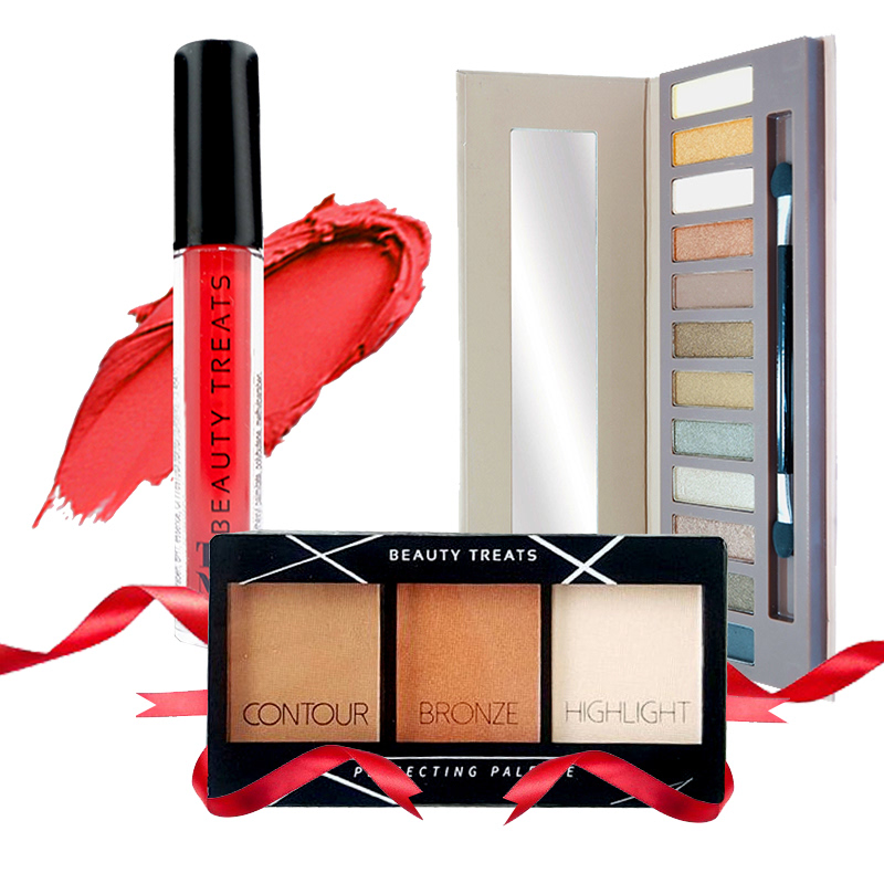 Beauty Treats Naked Eyeshadow No. 01 + Perfecting Pallete No. 02 FREE True Matte Lip Color No. 07