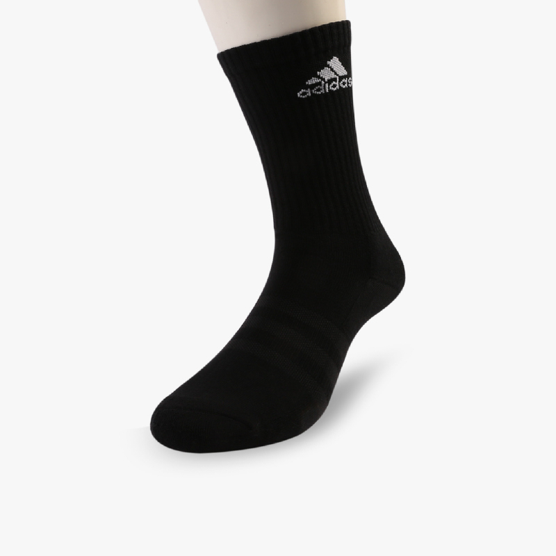 Adidas 3-Stripe Performance Crew HC Unisex Fitness Socks - 3 Pairs Black