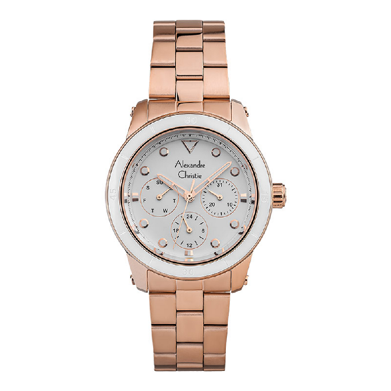 Alexandre Christie AC 2906 BFBRGSL Ladies White Dial Rose Gold Stainless Steel Strap