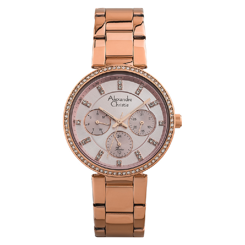 Alexandre Christie Passion AC 2874 BF BRGPN Ladies Pink Dial Rose Gold Stainless Steel Strap