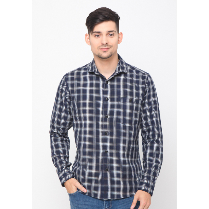 17seven Men Shirt Flanel Yaks Navy