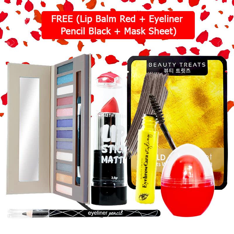 Beauty Treats Make Up Set B (Naked Eyeshadow No. 2 + Lipstick No. 8 + Eyebrowcara Dark Grey Brown) FREE Kiss Me Lip Balm Red + Eyeliner Pencil Black + Mask Sheet Gold