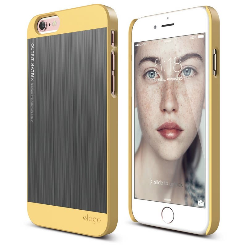 Elago Outfit Matrix Case for iPhone 6, 6S - Creamy Yellow + Dark Gray