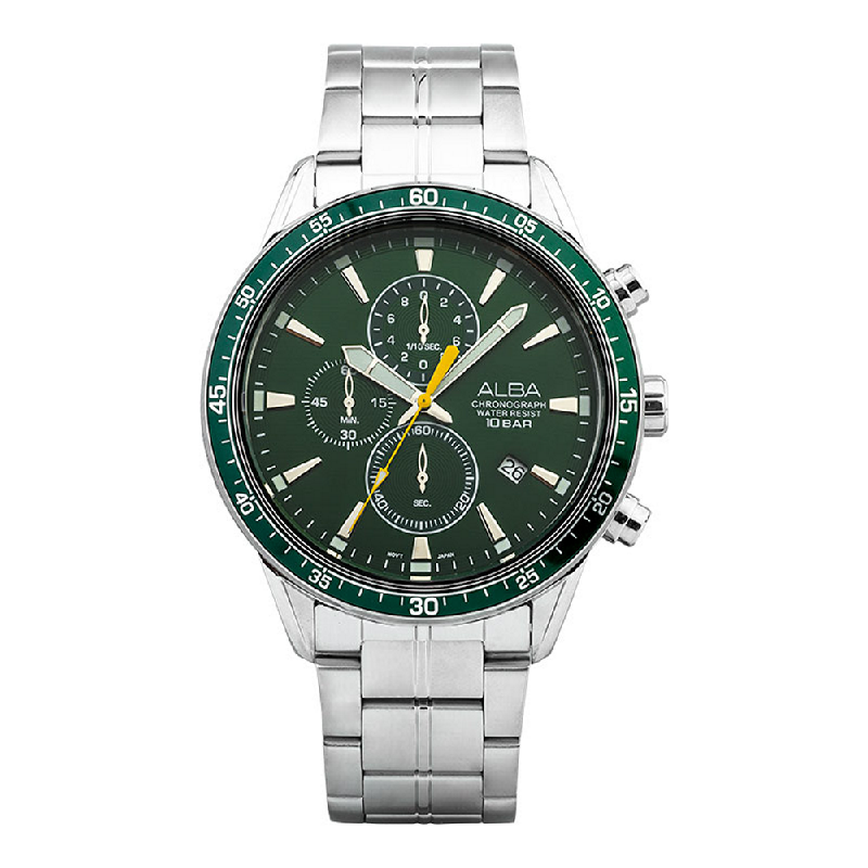 Alba AM3825X1 Chronograph Men Green Dial Stainless Steel Strap
