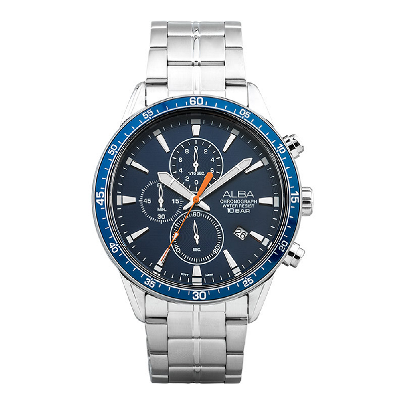Alba AM3829X1 Chronograph Men Blue Navy Dial Stainless Steel Strap