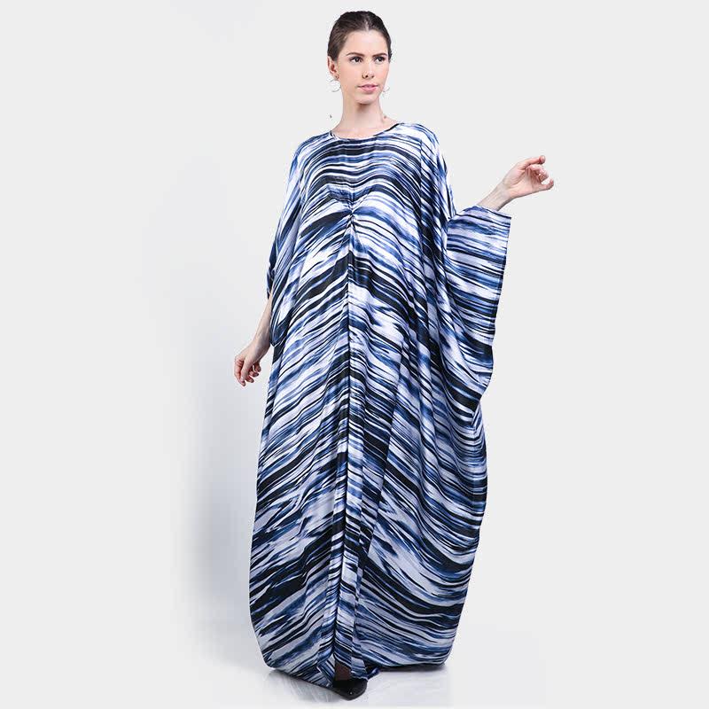 Basa Cahaya Kaftan Blue Satin Stripes