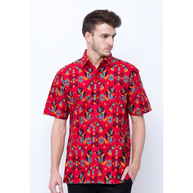 Kemeja Batik Lengan Pendek Cendrawasih-Merah